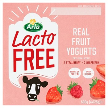 Arla Lactofree Real Fruit Yogurts 4 x 125g (500g)