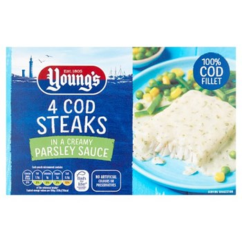 Young's 4 Cod Steaks In a Creamy Parsley Sauce 560g