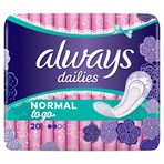 Always Dailies Normal To Go Panty Liners x 20
