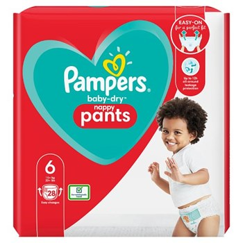 Pampers Baby-Dry Nappy Pants Size 6, 28 Nappies, 15kg+, Essential Pack
