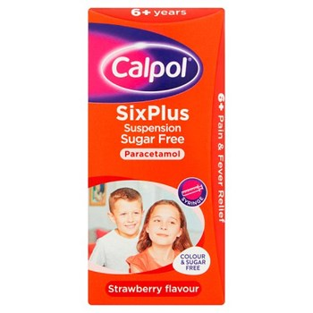 Calpol SixPlus Sugar Free Suspension, Paracetamol Medication, 6+ Years, Strawberry Flavour, 80ml