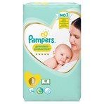 Pampers Premium Protection Size 1, 56 Nappies, 2-5kg, Essential Pack