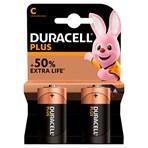 Duracell Plus Type C Alkaline Batteries, Pack of 2