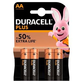 Duracell Plus AA Alkaline Batteries, Pack of 4
