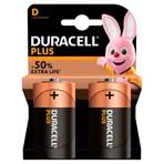 Duracell Plus Type D Alkaline Batteries, Pack of 2