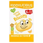 Kiddylicious Biscotti, Banana, Baby Snack, 7 Months+, Multipack, 6 x 20g