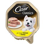 Cesar Classics Adult Wet Dog Food Tray with Chicken and Turkey in Loaf 150g