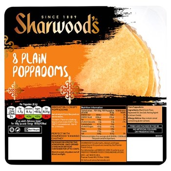 Sharwood's 8 Plain Poppadoms