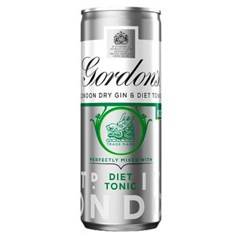 Gordon's London Dry Gin with Diet Tonic 250ml Ready to Drink Premix Can