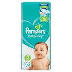 Pampers Baby-Dry Size 3, 50 Nappies, 6-10kg, Essential Pack
