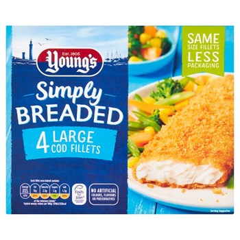 Young's Simply Breaded 4 Large Cod Fillets 440g