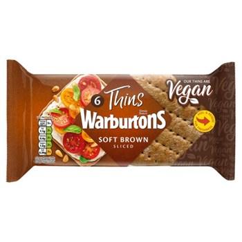 Warburtons 6 Thins Soft Brown Sliced