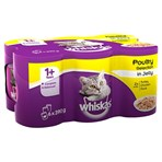 Whiskas Adult 1+ Wet Cat Food Tins Mixed Poultry in Jelly 6 x 390g