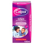 Calpol Infant Suspension, Paracetamol Medication, For 2+ Months, Strawberry Flavour, 100ml