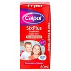 Calpol SixPlus Sugar Free Suspension, Paracetamol Medication, 6+ Years, Strawberry Flavour, 80ml