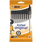 BIC Cristal Original Ballpoint Pens Medium Point (1.0 mm) - Black, Pack of 10