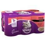 Whiskas Adult 1+ Wet Cat Food Tins Mixed Meaty in Gravy 6 x 400g