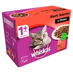 Whiskas Adult Wet Cat Food Pouches Meat in Gravy 12 x 100g