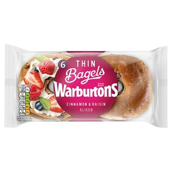 Warburtons 6 Thin Bagels Cinnamon & Raisin Sliced