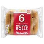 Warburtons 6 Sliced Hotdog Rolls