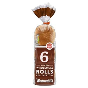 Warburtons 6 Soft Sliced Wholemeal Rolls