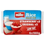 Muller Rice Strawberry & Original Low Fat Pudding Desserts 6 x 180g