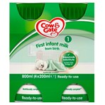 Cow & Gate 1 First Baby Milk Formula Multipack From Birth 4 x 200ml
