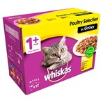 Whiskas Adult Wet Cat Food Pouches Poultry in Gravy 12 x 100g