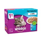 Whiskas Adult 1+ Wet Cat Food Pouches Fish in Jelly 12 x 100g