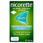 Nicorette® Icy White 2mg Gum Nicotine 105 Pieces (Stop Smoking Aid)