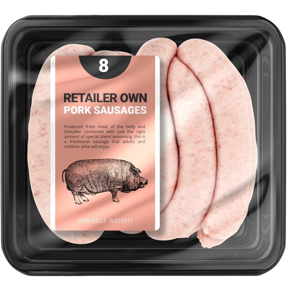 Butchers Pork Sausages 8 Pack Retailer's Own Brand 454g